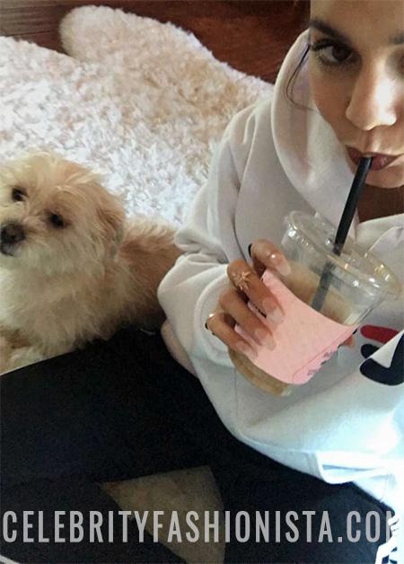 Vanessa Hudgens, FILA Samantha Sweatshirt Hoodie in White (Snapchat March 2, 2017)