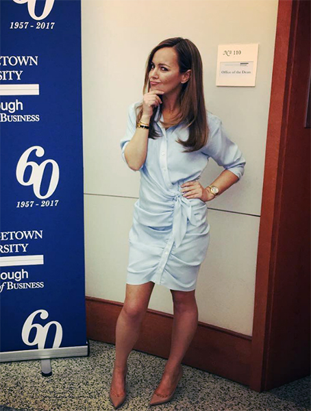 Nicole Lapin in Veronica Beard Sierra Ruched Shirtdress at Georgetown University Business School (April 8, 2017)