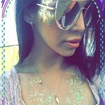 Scheana Marie, Quay Australia Santa Fe Sunglasses in Gold at Coachella 2017 Day 2 (Instagram Apr 25, 2017)