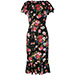 Dolce & Gabbana Rose Print Peplum Hem Dress