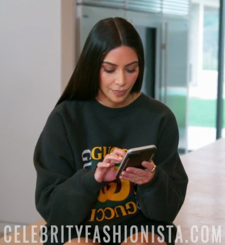 Kim Kardashian West wears a Men's Gucci motif print sweatshirt on Keeping Up With The Kardashians Season 13 Episode 7