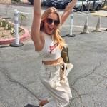LeAnn Rimes, A.L.C. Lee Cropped Paperbag-Waist Pants - Instagram Apr 6, 2017