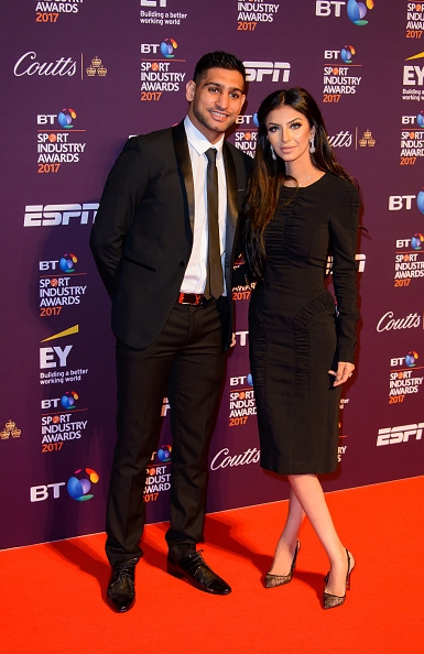 Faryal Makhdoom in Burberry ruched midi dress and Christian Louboutin lace shoes at 2017 BT Sport Industry Awards on April 27, 2017