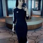 Faryal Makhdoom, Adidas Originals Black Three Stripe Midi Dress and Superstar Classic Sneakers (Instagram May 8, 2017)