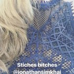 Nicole Lapin in Jonathan Simkhai Lace Midi Dress in Blue (Instagram Story, June 16)