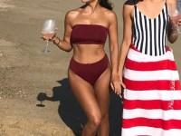 Kourtney Kardashian in the Myra Swim Daria Bikini Top in Wine and the matching Mia Bikini Bottoms in Wine on the beach in Nantucktet (Instagram pic, July 18, 2017.)