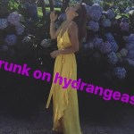 "Nicole Lapin shares another happy Hamptons snap on her Instagram story (July 9) with the caption ""drunk on hydrangeas,"" wearing a Rachel Pally dress in the color Miel. It features a ruffled overlay at the neckline, and is also available in black."