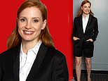 Jessica Chastain has legs for days in California chic cutoff suit at Eyes Of Tammy Faye screening
