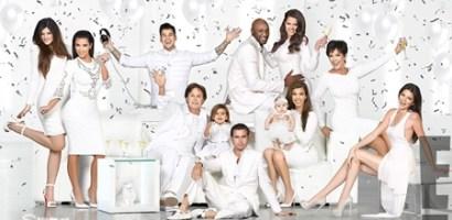 Kardashian Family Christmas Cards 2013-14, Kim, Kourtney and Khloe Dress Pictures