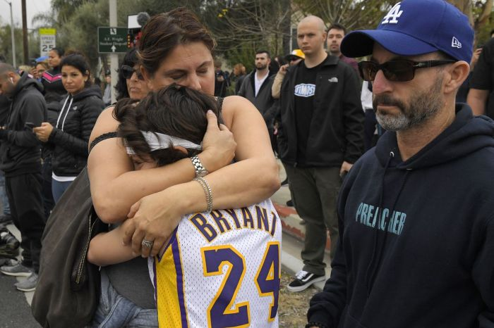 Kobe Bryant Fans Gather At The Scene Of The Helicopter Crash To Pay Their Respects