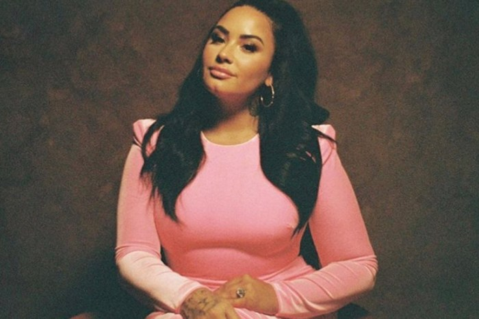 Demi Lovato Stuns In Pink Velvet Dress As She Promotes 'Talkspace' Online Therapy