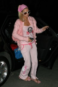 Paris Hilton on the set of her new movie, The Hottie and the Nottie, on the beach in Santa Monica, Ca