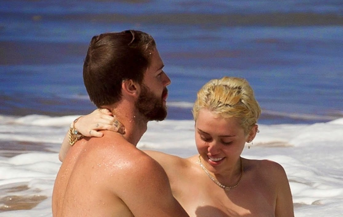 Watch Online   Miley Cyrus Topless on the Beach