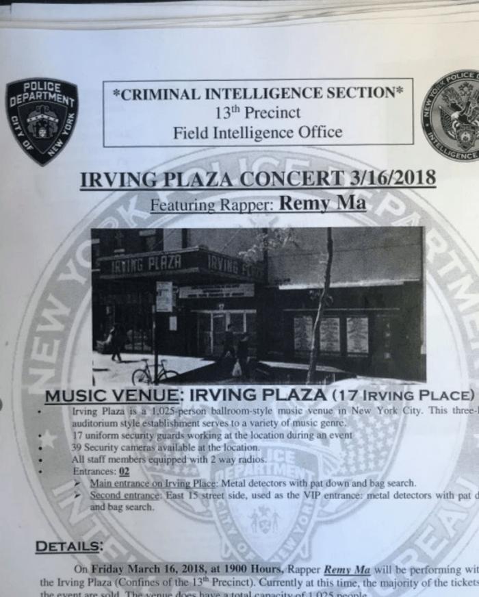NYPD Rap Unit memo on Remy Ma