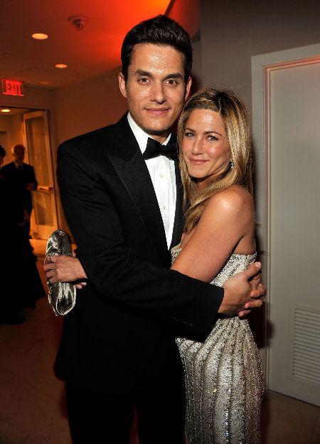 John Mayer with his ex-girlfriend, Jennifer Aniston