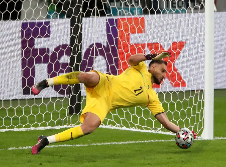 Gianluigi saving the penalty kick against the final with England