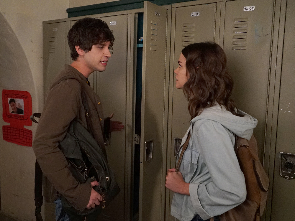 "THE FOSTERS - ""Trust"" - Callie's reaction to a derogatory comment gets her suspended while Mariana is blamed for Nick's actions, on an all-new episode of ""The Fosters,"" airing MONDAY, JULY 11 (8:00 - 9:00 p.m. EDT), on Freeform. (Freeform/Eric McCandless) DAVID LAMBERT, MAIA MITCHELL"