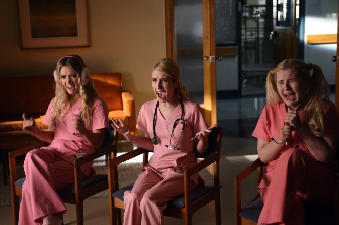 "Billie Lourd, Emma Roberts and Abigail Breslin in the all-new ""Scream Again"" season premiere episode of SCREAM QUEENS airing Tuesday, Sept. 20 (9:01-10:00 PM ET/PT) on FOX. Cr: Michael Becker / FOX"