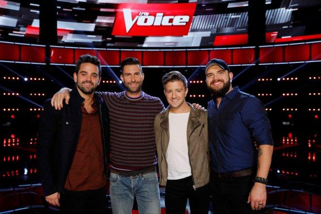 (l-r) Brendan Fletcher, Adam Levine, Billy Gilman, Josh Gallagher -- (Photo by: Trae Patton/NBC)