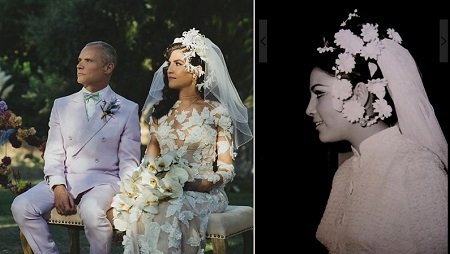 Melody Ehsani's mother (right) made the flower pattern herself, and so did she when she married Michael Balzary.