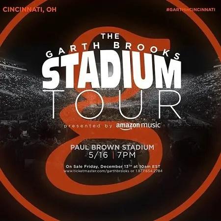 Garth Brooks announcement of his Stadium Tour 2020 venues.