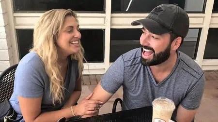 Gina Kirschenheiter laughing hard with her new boyfriend Travis Mullen.