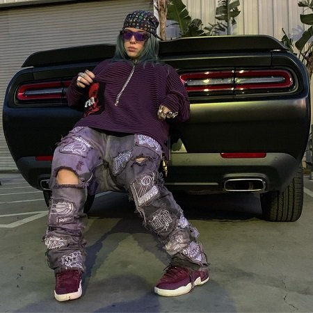 Billie Eilish trying to hide the license plate of her Dodge Challenger.