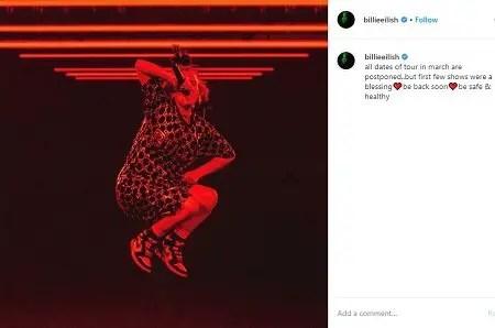 Billie Eilish Announcing postponing her tour dates.