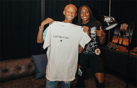 "Jaden Smith holding up the ""Call Me Coco"" T-Shirt with Coco Gauff"