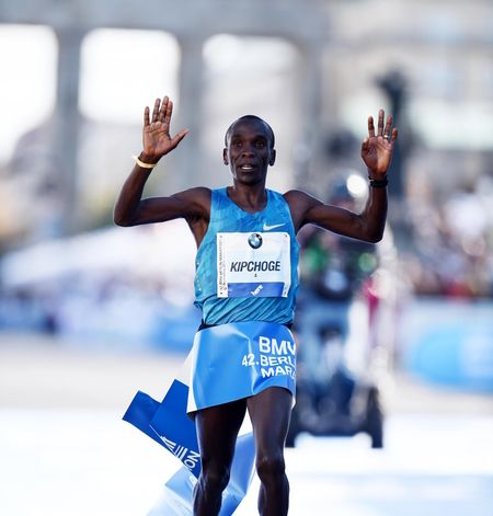 The Kenyan long-distance runner Eliud Kipchoge competes in the marathon and the 5000 meters.
