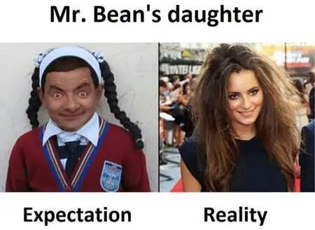 Mr. Bean Rowan Atkinson daughter meme is pretty funny.
