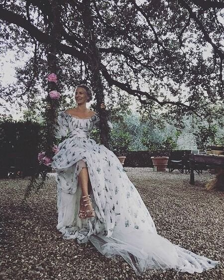 Mickey Sumner looking stunning in her wedding dress.