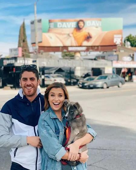 Taylor Misiak and her boyfriend Tony Yacenda share a pet dog named Fredo.