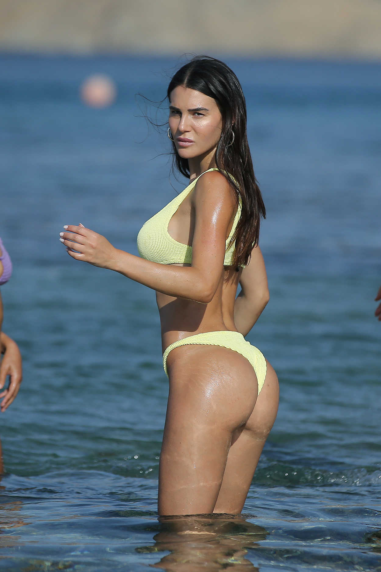 Silvia Caruso in Yellow Bikini on the Beach in Mykonos 07