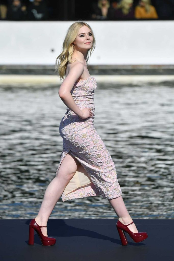 Elle Fanning Attends the LOreal Fashion Show During the