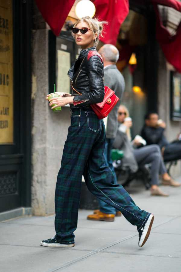 Elsa Hosk In Plaid Jeans Nyc 10 17 2018