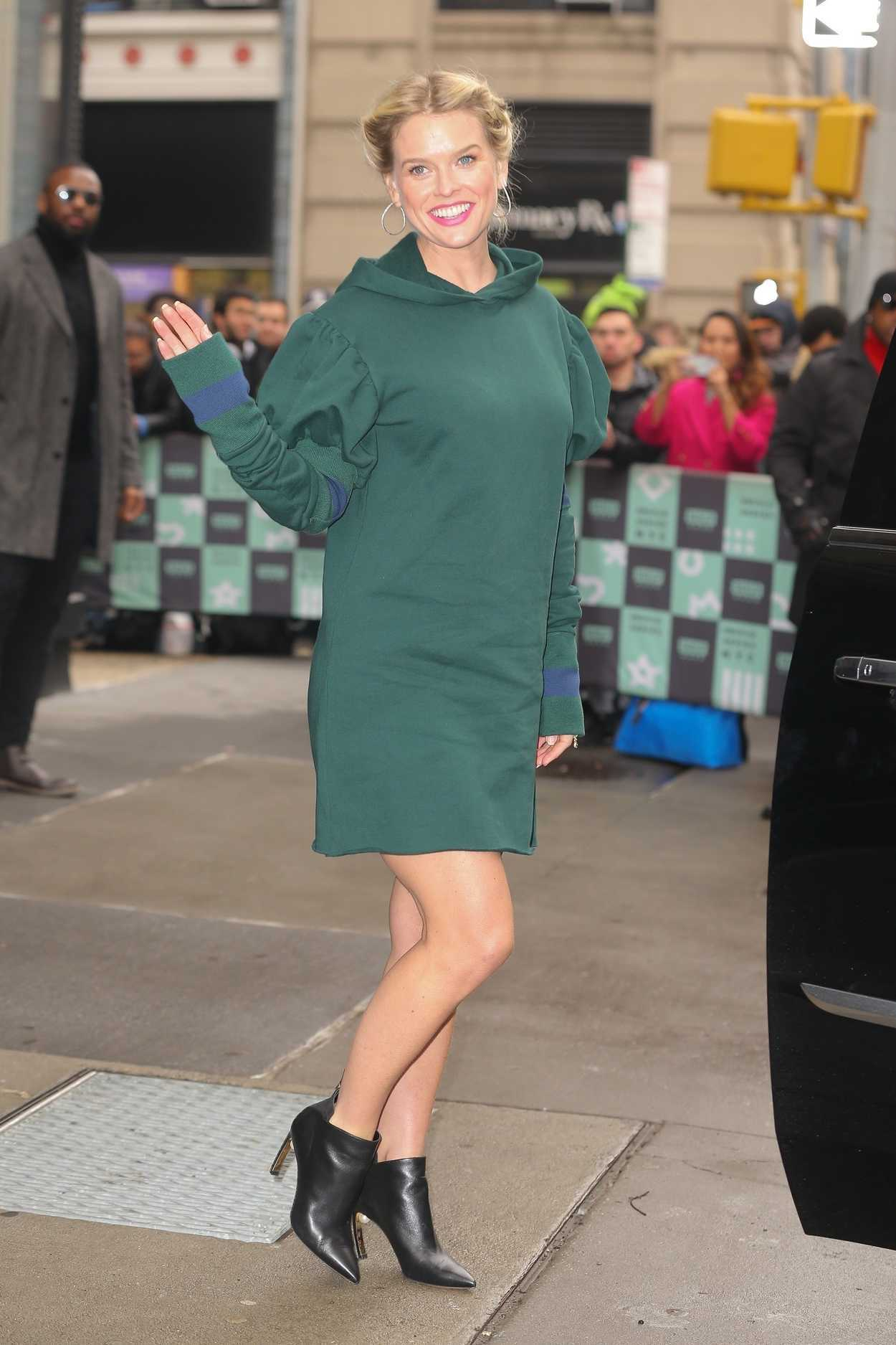 Alice Eve In A Green Dress Leaves AOL Build Series Studios