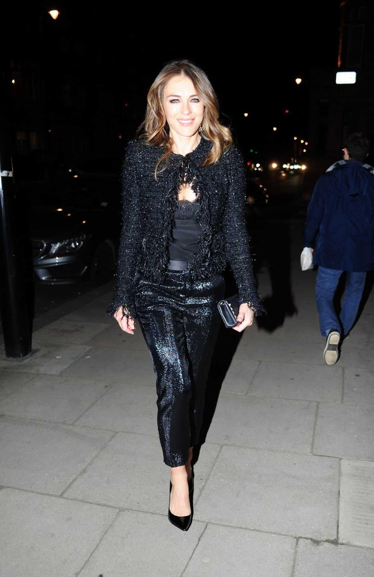 Elizabeth Hurley In All Black Leaves Her House In London