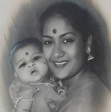 Vijaya Chamundeswari as a child with his mother
