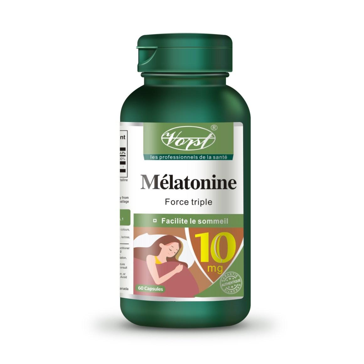 Melatonin 10mg vitamin b12 60 capsules front bottle french