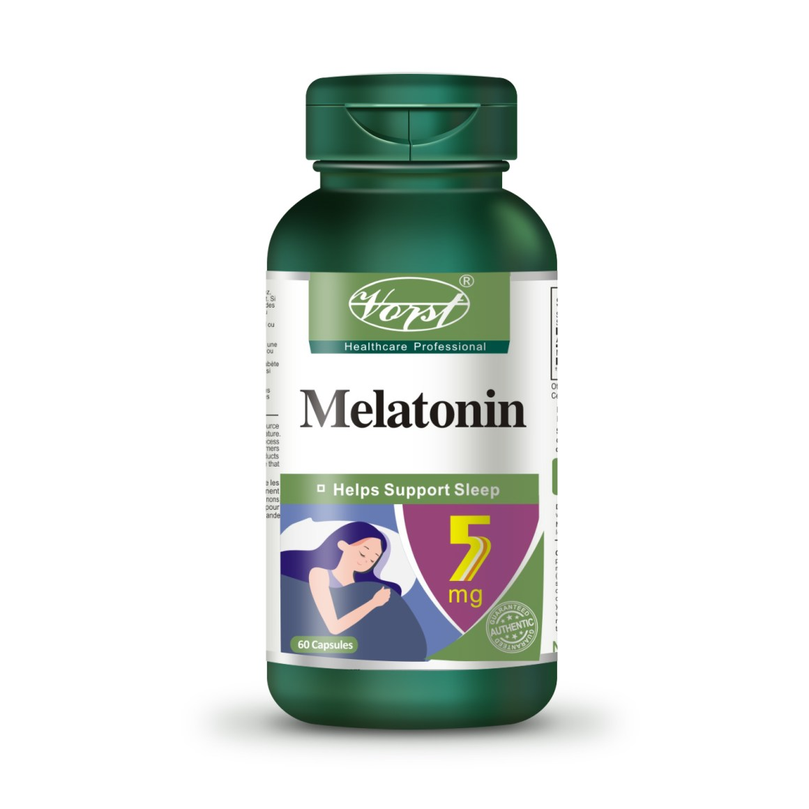 Melatonin 5mg 60 capsules bottle front