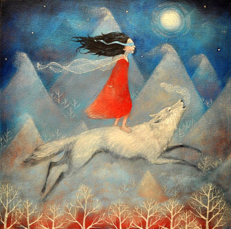 painting of young girl standing atop running white wolf in twilight with distant pointy-top hills beneath a full moon