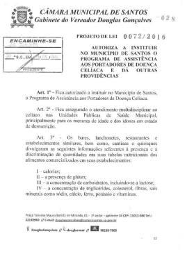 Projeto de Lei 0072/2016 Data: 14/04/16