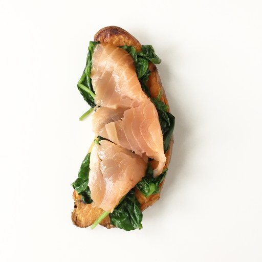 Sweet Potato with Sauteed Spinach and Smoked Salmon