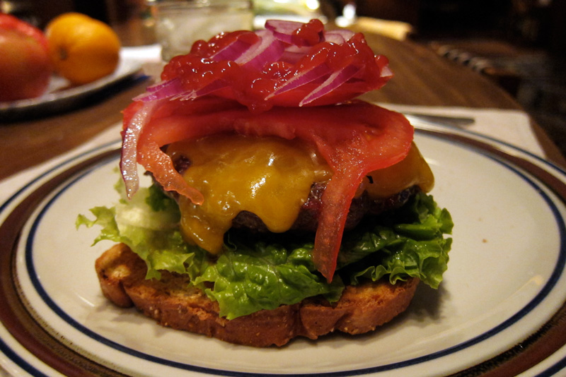 A cheeseburger from the grill, © 2013 Celia Her City