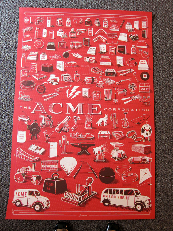 Detail of Rob Loukotka's poster, The Acme Corporation, 2012. Photograph by Celia Her City