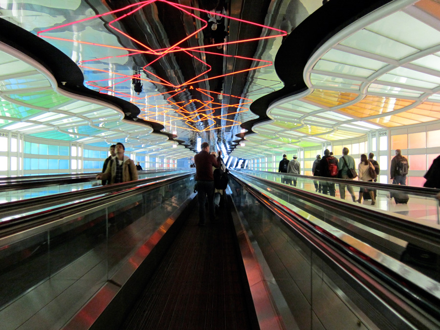 The neon tunnel at O'Hare, © 2013 Celia Her City