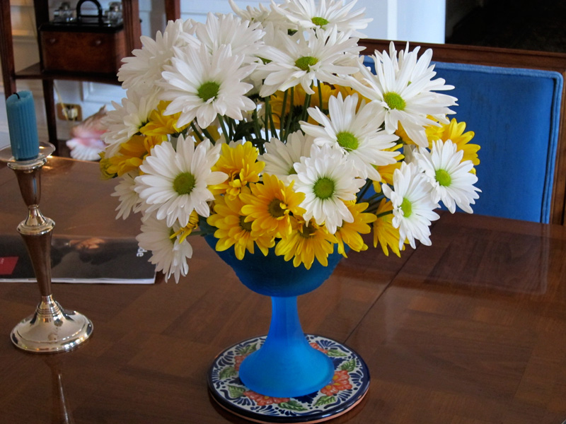 Blue vase with daisies, © 2014 Celia Her City