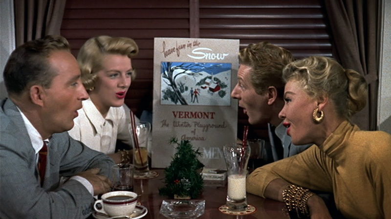 """White Christmas screenshot of the leads singing """"Snow"""""""