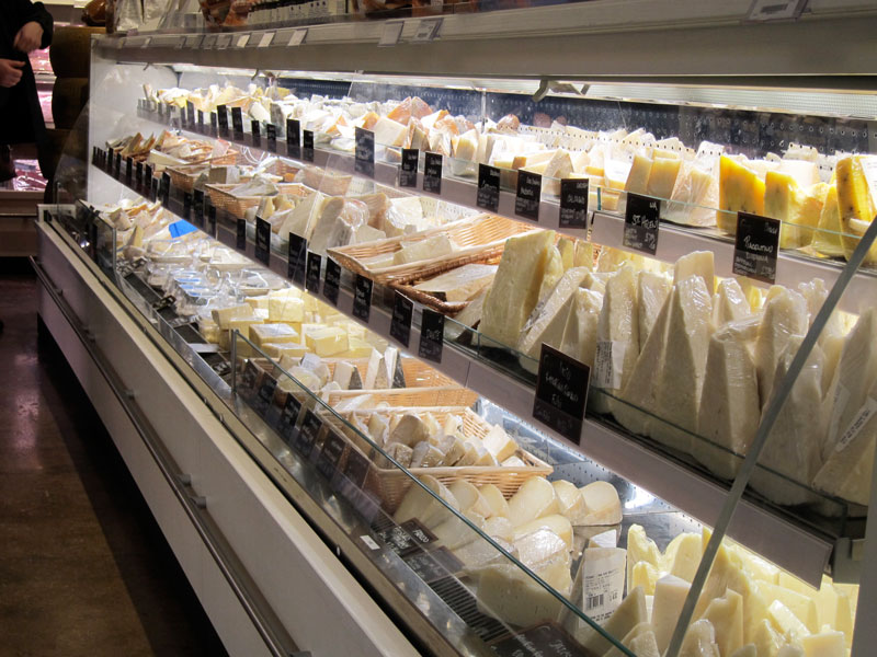 Part of the selection of cheeses for sale at Eataly
